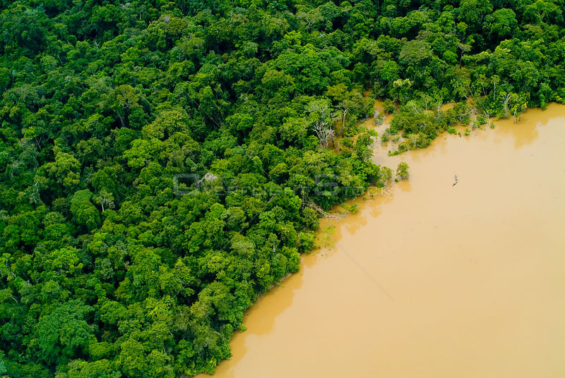 Aerial view of Amazon Rainforest and Yavari River, Peru