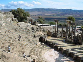 View form the upper galleries of the cavea at the Theatre at Dougga; Tunisia; Landscape