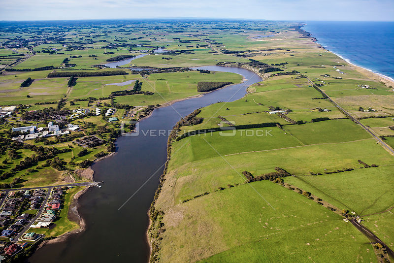 Aerial view looking east from Warrnambool towards Allansford and Nullawarre including Bay of Islands Coastal Park. Australia