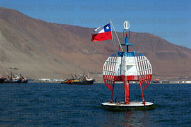 Buoy marking the spot where the warship Esmeralda was sunk , Iquique , Region I , Chile