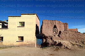 Adobe chulpa next to house in Curahuara de Carangas, Oruro Department, Bolivia