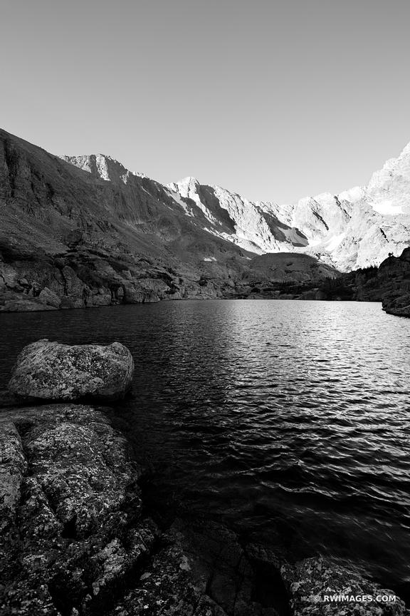 Sky pond rocky mountain national park colorado black and white vertical