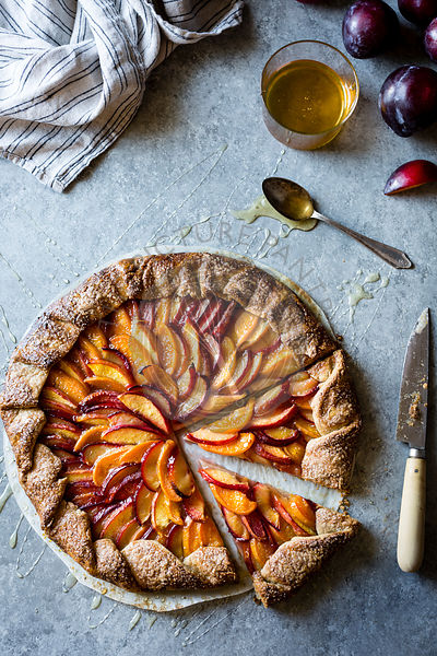 French Fruit Galette Pie with Peaches, Nectarines and Plums.