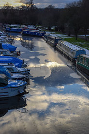 Boats on the frozen waters near Ashwood Marina, Kingswinford.