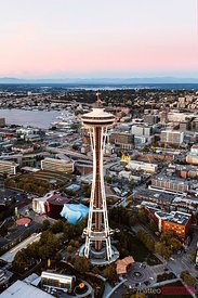 Aerial view of the Space Needle at sunset, Seattle, Washington, USA