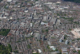 Preston high level aerial photograph of Fishergate and Church Street and the main shopping area of Preston town centre