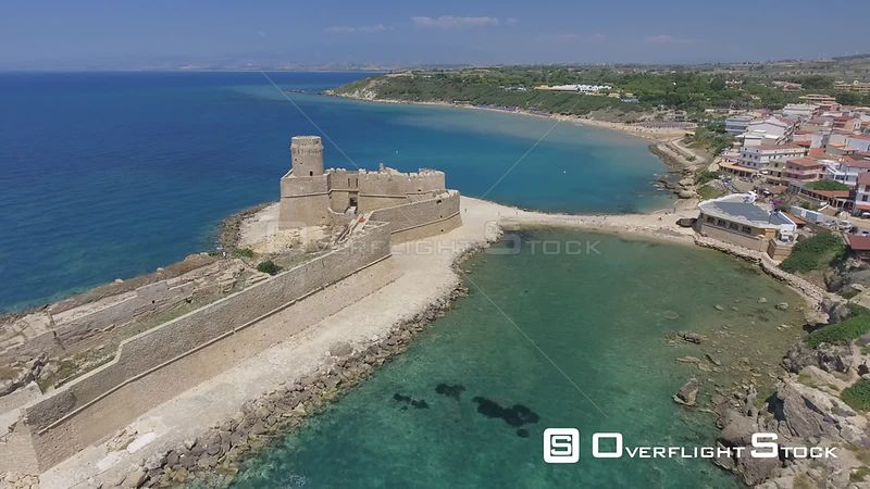 Aerial view of Fortezza Aragonese in Isola di Capo Rizzuto on a beautiful summer day, Italy