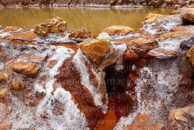 Detail of outlet and channel of salt evaporation pond at Las Salineras to Urubamba Valley, Maras, near Cusco, Peru