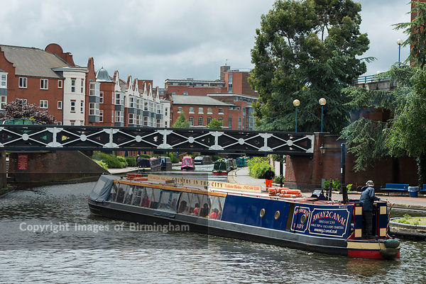 A barge on the canal in near to Brindleyplace
