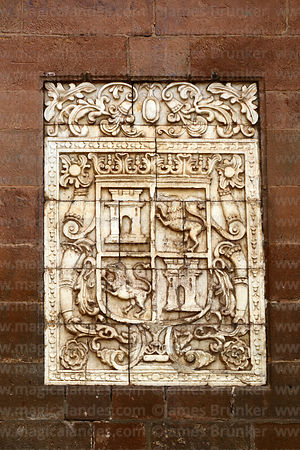 Alabaster tablet of coat of arms of Spain (and also Castile and León) on entrance facade of the Temple of Triumph / Templo del Triunfo, Cusco, Peru