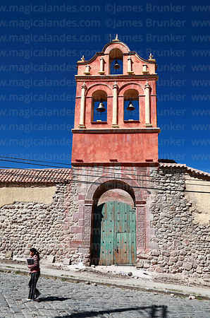 San Sebastian church entrance and bell-gable, Potosí, Bolivia