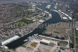 Wirral Waters Enterprise Zone, Docklands West Float Dock looking towards East Float Dock and Cavendish Dock and Vittoria Dock Birkenhead