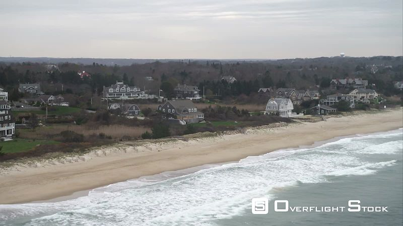 Flying Above Beach Past Houses in Watch Hill, Rhode Island. Shot in November