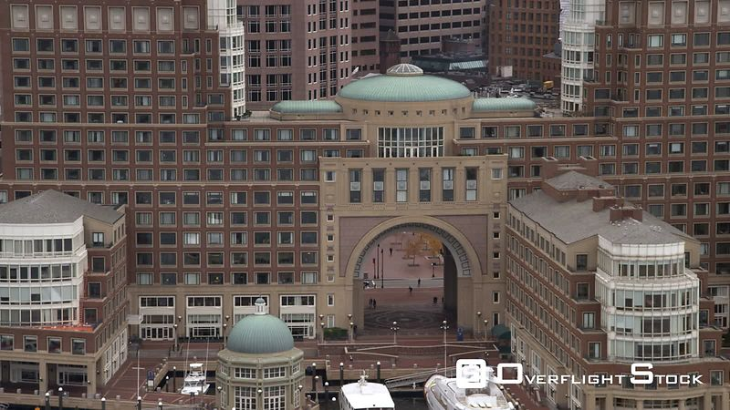 Flying toward arch of Boston Harbor Hotel.