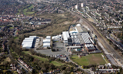 aerial photograph of former Triplex Safety Glass Co Ltd, Triplex Works, Eckersall Road, King's Norton, Birmingham, England UK.