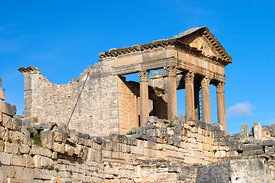 Western view of the Capitol of Dougga; Tunisia; Landscape