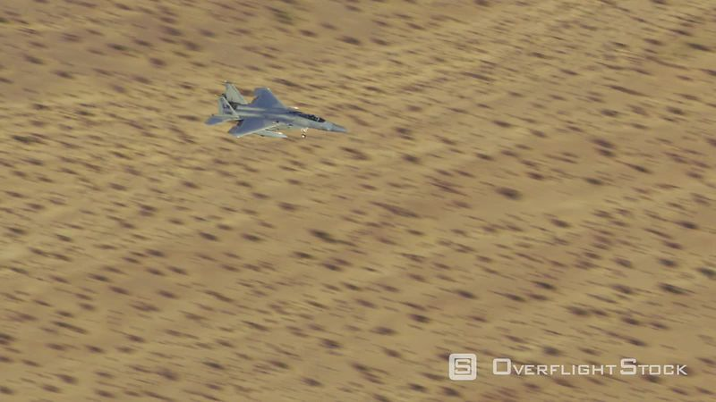 Aerial view of military fighter jet landing near Las Vegas, Nevada