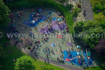 Aerial view of children playing in a park, Dublin, Ireland