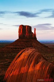 Red sunset over famous Monument valley, Arizona, USA