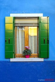 Window of a blue house, Burano, Venice