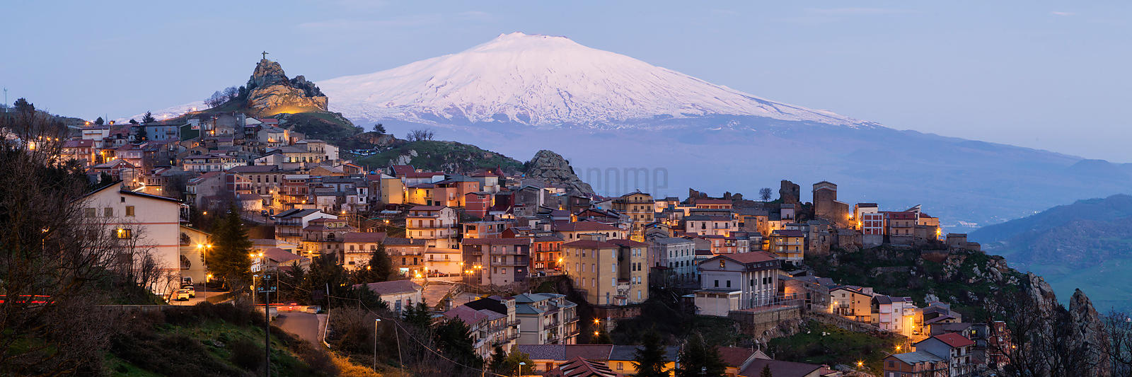 Dusk View of Mt Etna with the Town of Cesarò in the Foreground