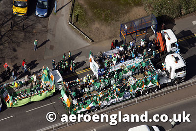 aerial photograph of the St Patricks Day Parade in Birmingham England UK