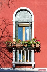 Ornate traditional window, Murano, Venice, Italy