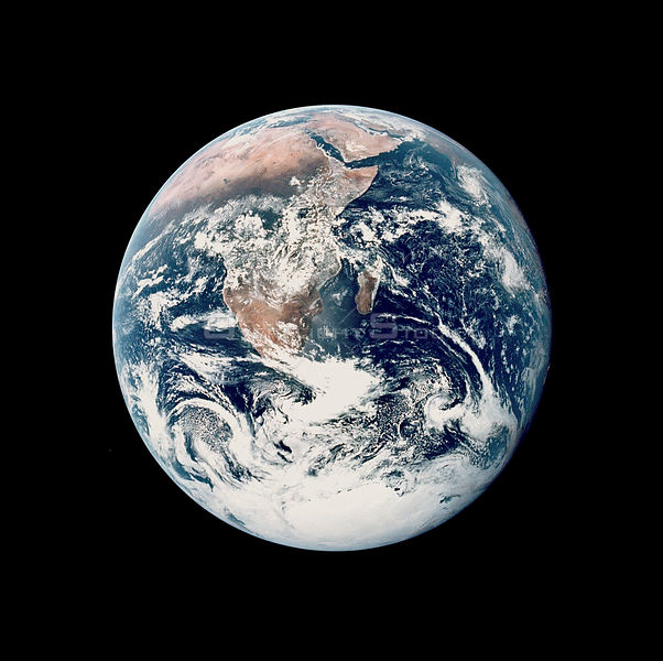 SOL SYSTEM Earth -- 07 Dec 1972 -- This view of the Earth was seen by the NASA Apollo 17 crew as they traveled toward the Moon on their lunar landing mission.