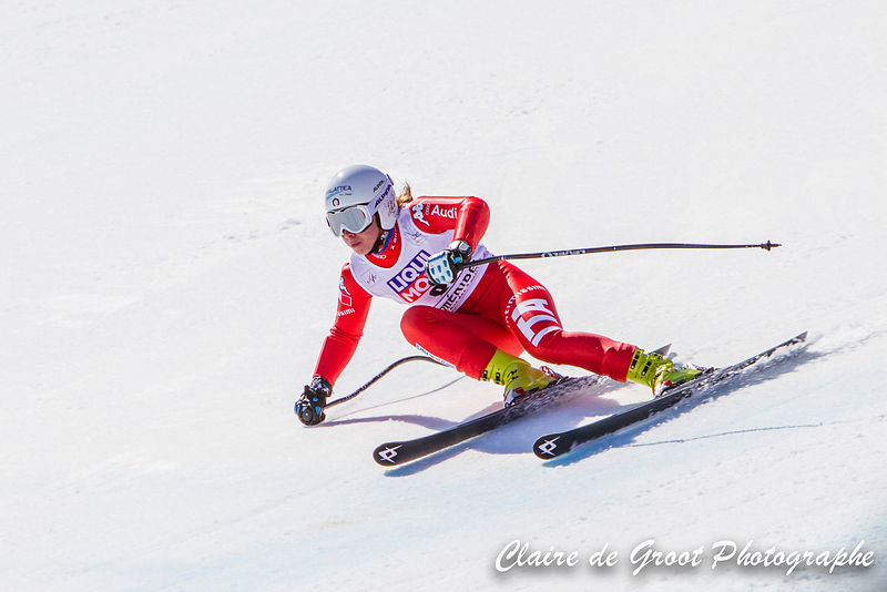 Italian Francesca Marsaglia getting some serious lean in the ladies Super G final.