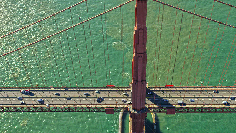 Aerial view of the Golden Gate Bridge spanning the so-called Golden Gate linking San Francisco and Sausalito in the Bay Area of northern California, USA