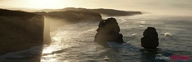 Panoramic of rocky coastline at sunrise, Great Ocean Road, Australia