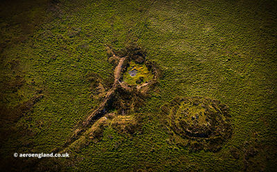 Bronze Age barrows on Five Barrows Hill, in the Exmoor National Park, Devon from the air