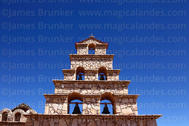 Detail of bell-gable of rebuilt stone church in San Cristóbal, North Lipez, Bolivia