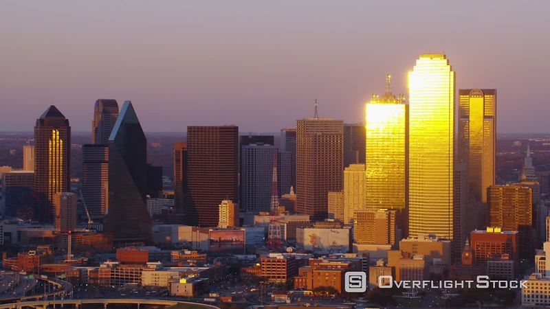 Dallas, Texas Aerial view of city at sunset