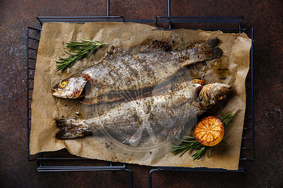 Grilled Fish Sea bass on metal grill grid with lemon and rosemary on dark background