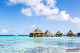 Iconic overwater bungalows in a luxury resort, Polynesia
