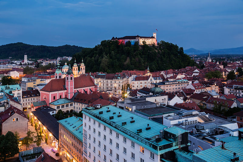 Elevated View of the Center of Ljubljana at Dusk
