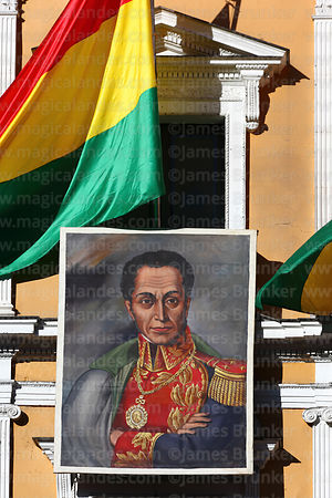 Portrait of Simón Bolívar on presidential palace for Independence Day, La Paz, Bolivia