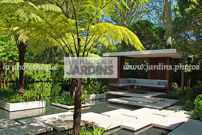 Aquatic garden, Asiatic garden, Contemporary furniture, Contemporary garden, Exotic garden, Garden construction, Garden furniture, Pavement, Resting area, Terrace, Tropical garden, Water garden, Contemporary Terrace, Malaysian garden, Tree Fern