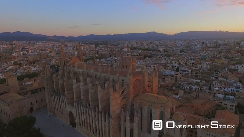 Sunrise Over La Seu Cathedral Palma de Mallorca Spain