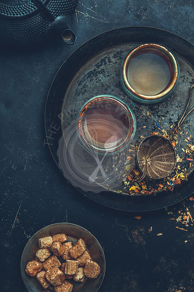 Tea composition, flat lay