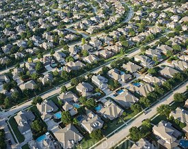 Aerial photograph of Dallas, Texas suburbs