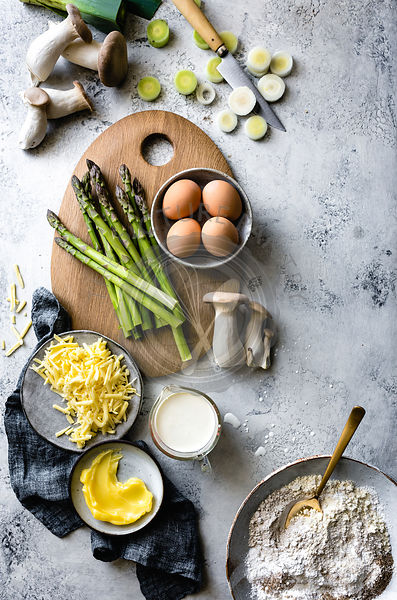 Asparagus Mushrooms and Eggs (quiche ingredients)