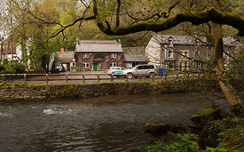 The Angler's Rest and the river Wye in Miller's Dale