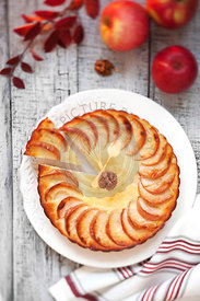 Apple tart on a wooden table