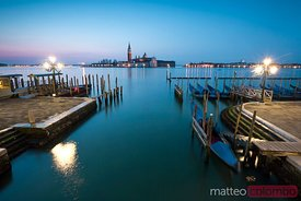 Dawn on the blue lagoon in Venice, Italy