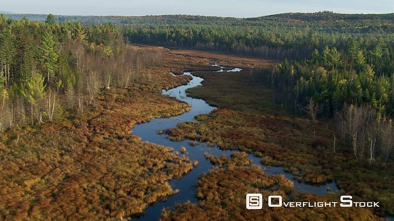 Flying above meandering Maine river in autumn