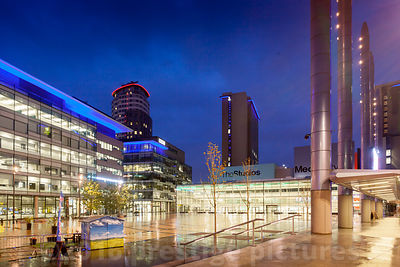 BBC Quay House and Media CityUK Buildings at night Across the Piazza