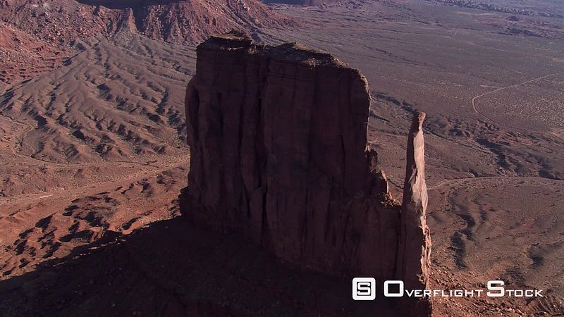 Flying over West Mitten Butte in Monument Valley