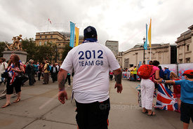 Big Man in 2012 TeamGB Tshirt in Trafalgar Square